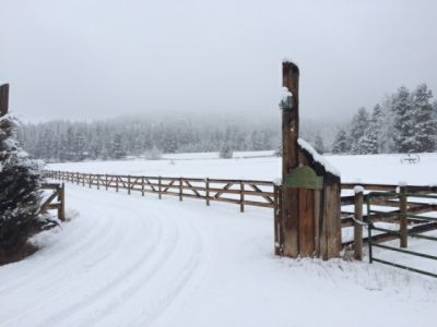 Gate to New Beginning Ranch in Winter