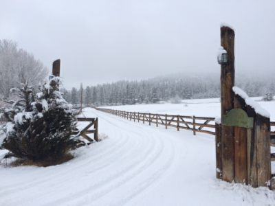 Gate and Roadway to New Beginning Ranch in Winter